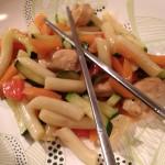 Chicken mit Gemüse und rice cakes
